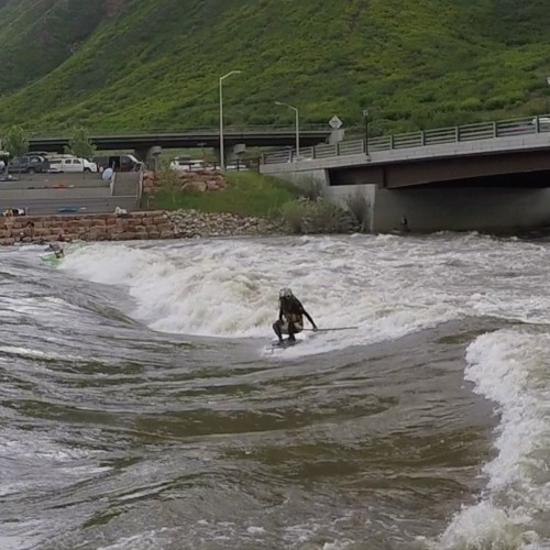 SUP River Surfing, Glenwood Springs, Frontside 360