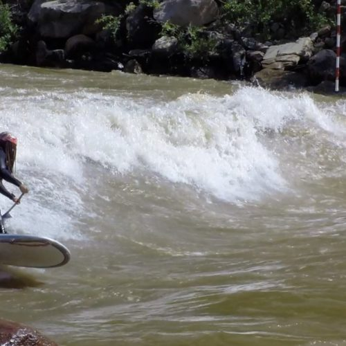 SUP river surfing Ponderosa Wave, Durango, CO