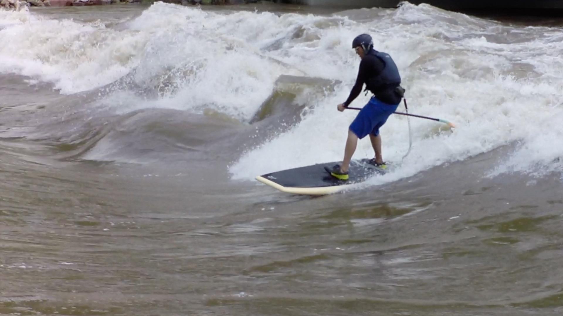 SUP river surfing Glenwood Springs
