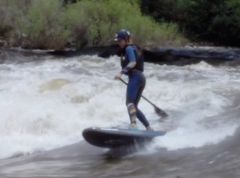 Claire Chappell SUP river surfing